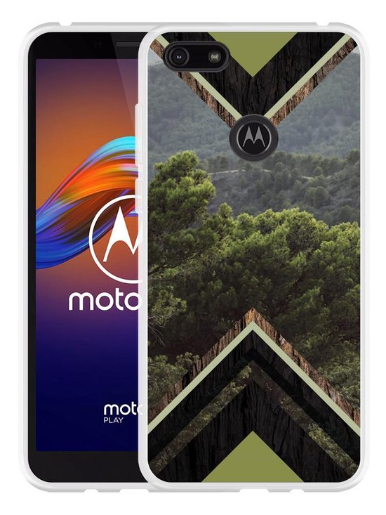 Motorola Moto E6 Play Hoesje Forest wood
