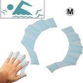 Midden grootte vinger flexibele siliconen zwemmen Gloves(Blue)