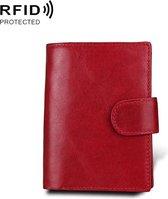 Antimagnet RFID Genuine Leather Wallet / Passport Package / Cowhide Card Slot for man (Red)