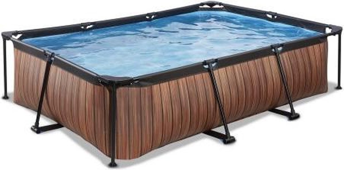 EXIT Wood zwembad 300x200x65cm met filterpomp - bruin
