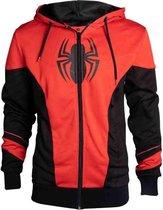 Marvel Marvel Comics Spiderman Outfit Hoodie Vest met Capuchon Rood Zwart Unisex Sweatvest 2XL