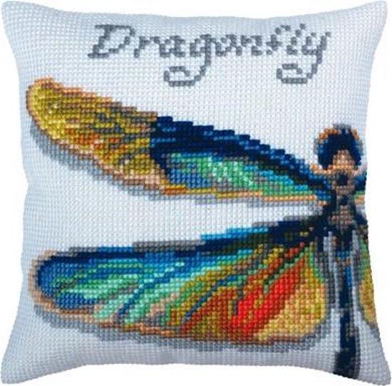 Collection d'Art borduurpakket Dragonfly 5363 voorbedrukt kruissteekkussen