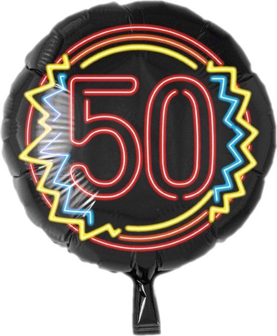Folieballon - 50 Jaar - Neon - 43cm - Zonder vulling
