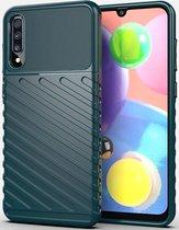 Samsung Galaxy A70 Twill Thunder Texture Back Cover Groen