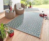 Binnen & Buiten vloerkleed ruiten vlakweef Summer - blauw 70x140 cm