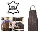 Lederen BBQ - Hobby schort - Echt Leer - Real Leather - Barbecue - Donkerbruin