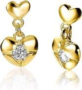 ZINZI zilveren hart oorknoppen geel verguld met bungelend hart wit ZIO1916G
