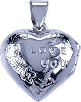 Zilveren Foto medaillon Hart I love you 2 foto's ketting hanger