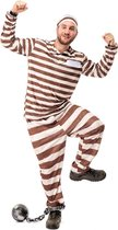 Boef Kostuum | Bruin Gestreept Gevangenis Boef Misdadiger Alcatraz Kostuum Man | Large | Carnaval kostuum | Verkleedkleding