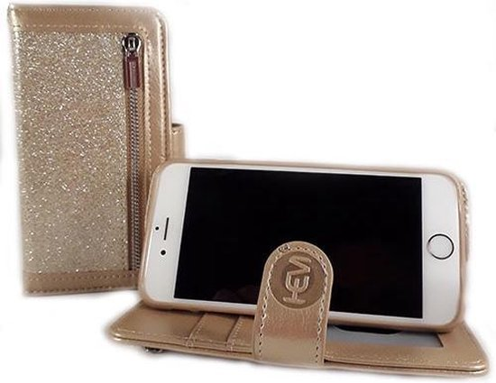 HEM Apple iPhone 7 Plus/8 Plus - Magic Glitter Gold - Leren Rits Portemonnee Telefoonhoesje