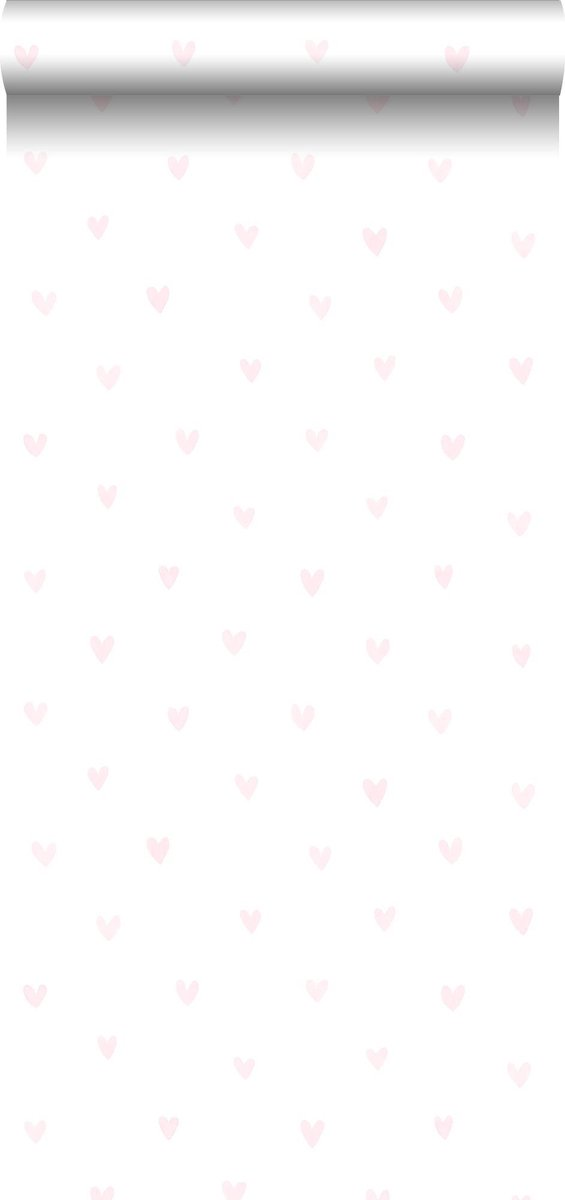 ESTAhome behangpapier hartjes licht roze en wit - 138915 - ESTAHome