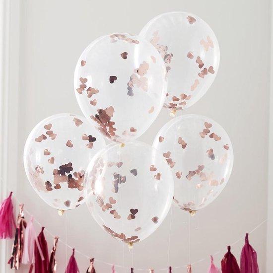 Confetti ballonnen Hartjes Rose Goud - 5 stuks