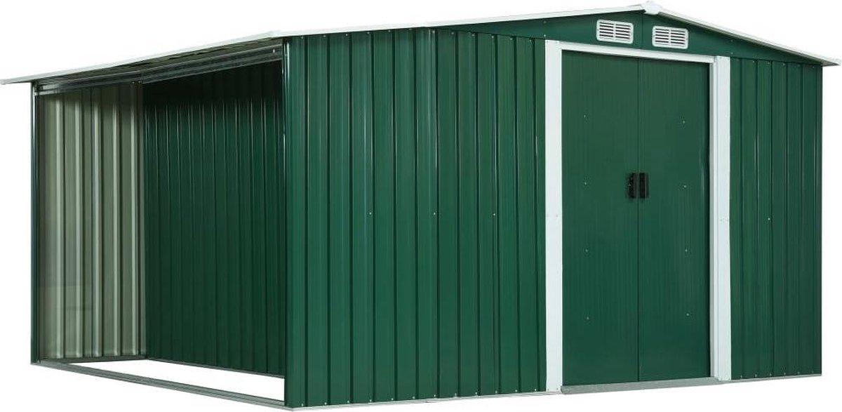 VidaXL Tuinschuur met schuifdeuren 329,5x312x178 cm staal groen VDXL_144025 online kopen