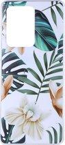 Shop4 - Samsung Galaxy S20 Ultra Hoesje - Zachte Back Case Bloemen en Bladeren