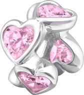 Roze zirkonia hartjes bedel | Zilverana | geschikt voor Biagi , Pandora , Trollbeads armband | 925 zilver