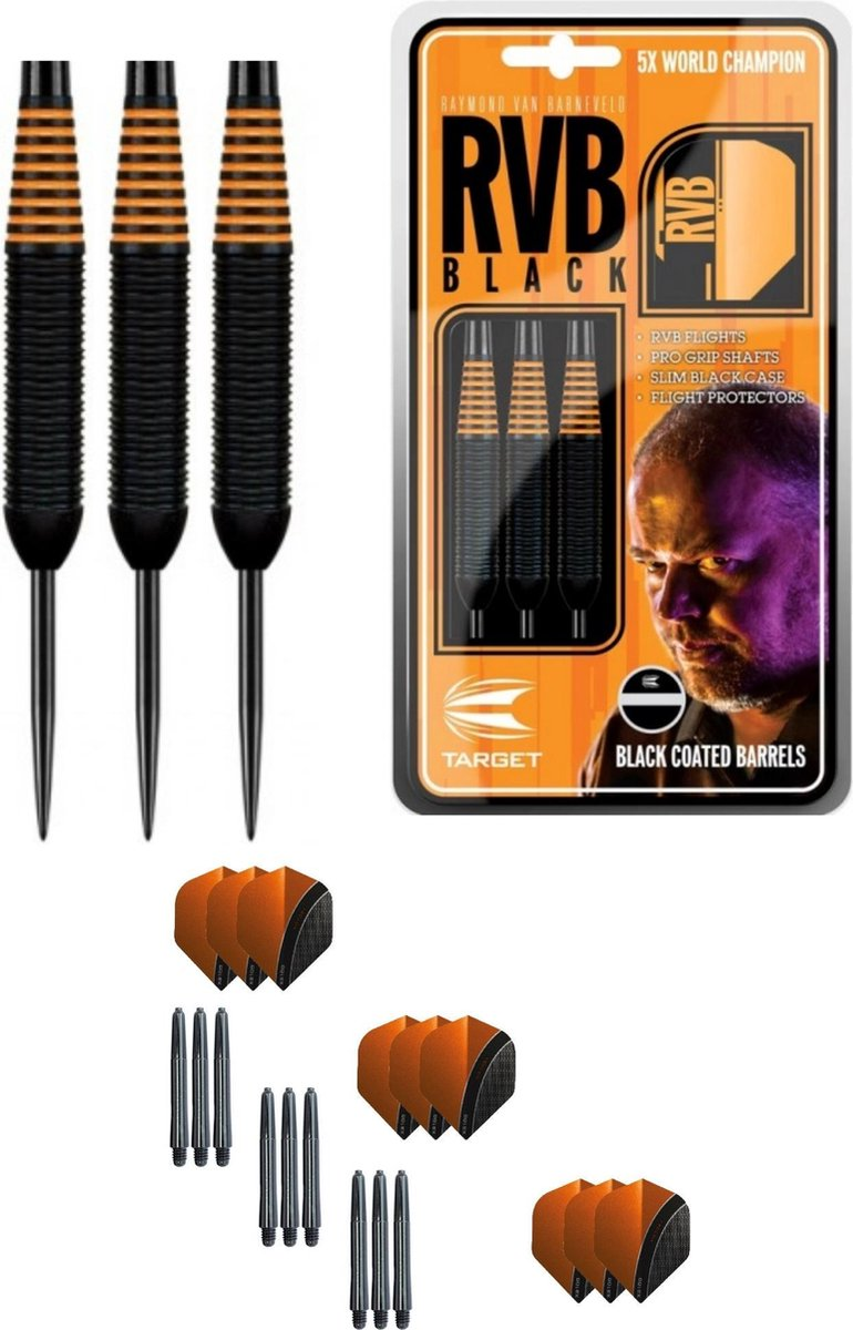 Target - Raymond van Barneveld - Black coated - 22 gram - dartpijlen + 9 dartshafts + 9 dartflights