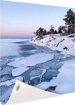 Bevroren zee Tuinposter 100x200 cm - Tuindoek / Buitencanvas / Schilderijen voor buiten (tuin decoratie) XXL / Groot formaat! / Zee en Strand