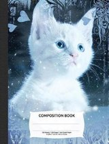 White Snow Blue Eye Cat Composition Notebook, Graph Paper