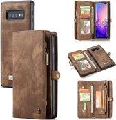 CASEME Samsung Galaxy S10 Plus Leren Portemonnee Hoesje - met backcover (bruin)