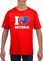 Rood I love Australie fan shirt kinderen M (134-140)