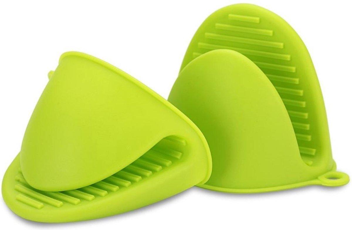 Siliconen Ovenwanten (2 stuks). Ovenhandschoen Keuken Antislip BBQ Handschoen. Set van 2 - Groen - H