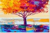 Graphic Message - Schilderij op Canvas - Levensboom - Boom - Kleurrijk Landschap - Woonkamer