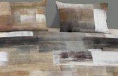 1 persoons dekbedovertrek met ruiten, grijs - 4771-A (140x200/220 cm + 1 sloop)