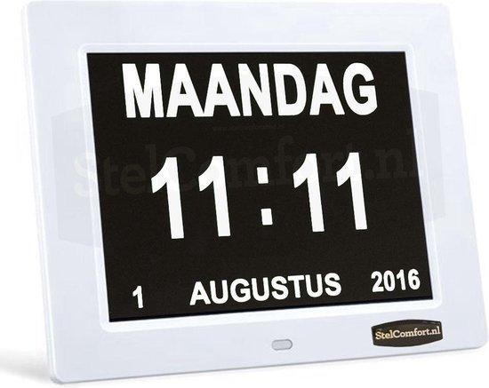 Digitale kalenderklok met dag- en datumaanduiding