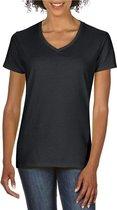 Basic V-hals t-shirt zwart voor dames - Casual shirts - Dameskleding t-shirt zwart M (38/50)