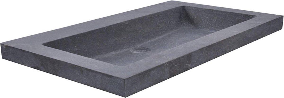 Saqu wastafel zonder kraangat 60x46x5cm Hardstenen zwart