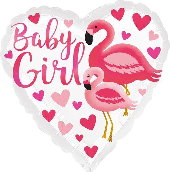 Amscan Folieballon Baby Girl Flamingo 45 Cm Wit/roze