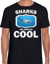 Dieren haaien t-shirt zwart heren - sharks are serious cool shirt - cadeau t-shirt walvishaai/ haaien liefhebber 2XL