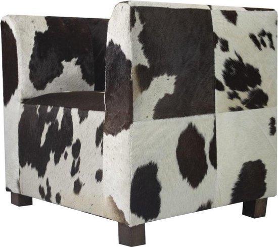 Stoel club koe donker bruin/wit