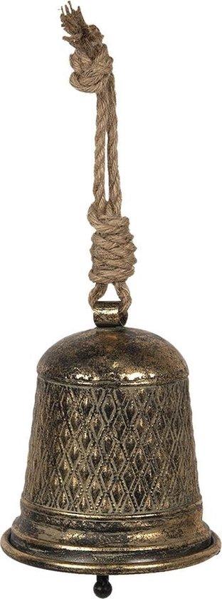 Clayre & Eef Ouderwetse Deurbel Gietijzer Ø 16*16 cm Goudkleurig, Bruin Metaal Rond deurbel Tuinbel Buitenbel