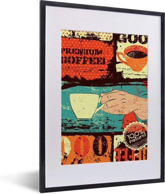 Koffie vintage kleurrijk 30x40 cm - klein