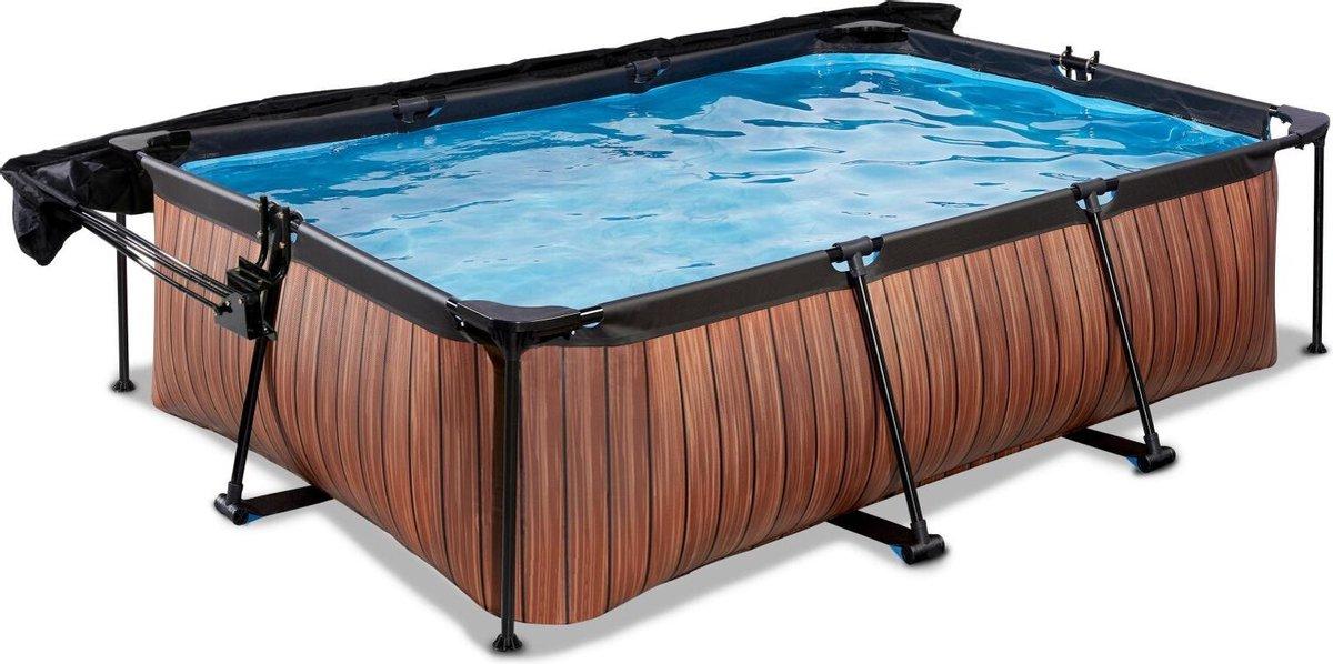 EXIT Wood zwembad 220x150x65cm met schaduwdoek en filterpomp - bruin