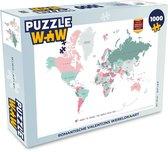Puzzel 1000 stukjes volwassenen Trendy wereldkaarten 1000 stukjes - Romantische Valentijns wereldkaart  - PuzzleWow heeft +100000 puzzels