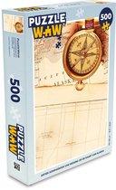 Puzzel 500 stukjes Kompasroos - Antiek kompasroos van messing op de kaart van Alaska  - PuzzleWow heeft +100000 puzzels