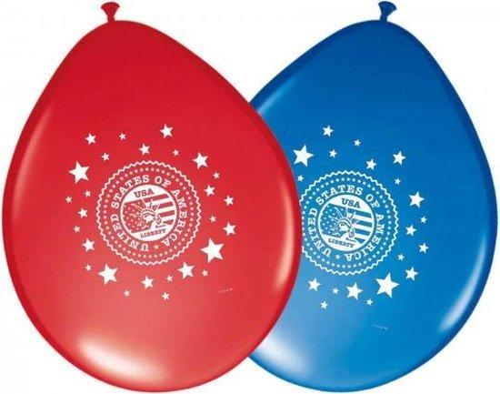 24x stuks Usa Amerika vlag thema party ballonnen - Thema feestartikelen en versieringen