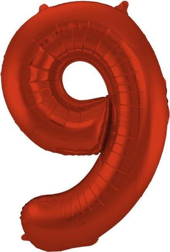 Cijfer 9 Rood Metallic Mat – 86 cm