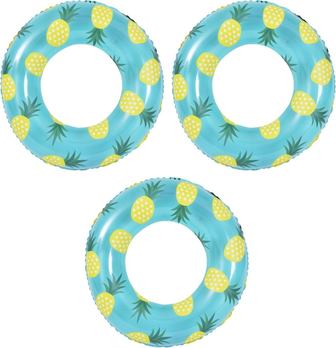 3x stuks opblaasbare zwembad banden/ringen ananas 90 cm - Zwembanden/zwemringen speelgoed