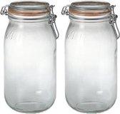2x Weckpotten/inmaakpotten met klepdeksel en beugelsluiting 2 liter - Inmaakpotten - Weckpotten - D 8,5 cm