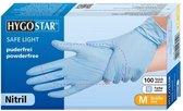 Hygostar Nitril wegwerp handschoenen blauw poedervrij maat M - 100 stuks