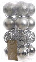 16x Zilveren kunststof kerstballen 6 cm - Mix - Onbreekbare plastic kerstballen - Kerstboomversiering zilver