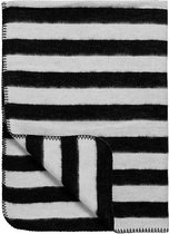 Meyco Black Label Organic Stripe - Ledikantdeken 120x150 cm - Zwart/Wit