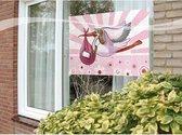 Raamvlag geboorte meisje feestartikelen 60 x 90 cm - Roze versiering meisjes geboren