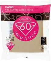 Hario Koffiefilters V60 02 - Bruin (100 stuks)