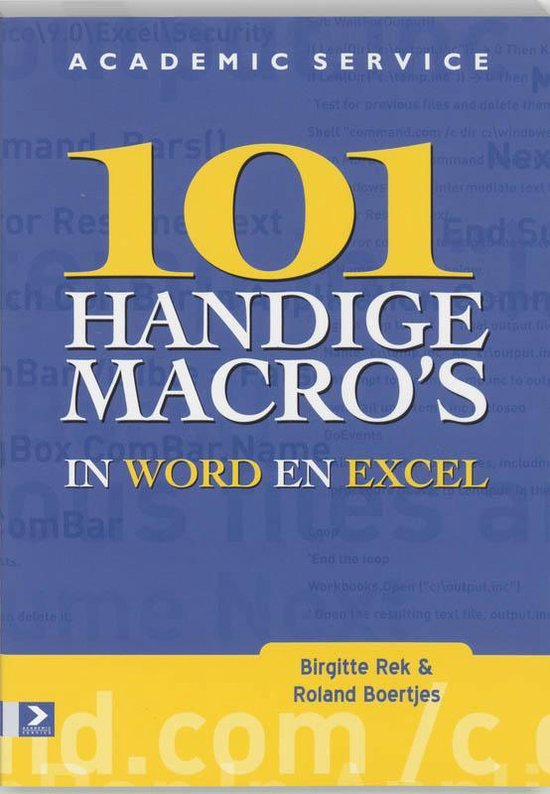Cover van het boek '101 Office macro's in Word & Excel 2002' van R. Boertjens en Birgitte Rek