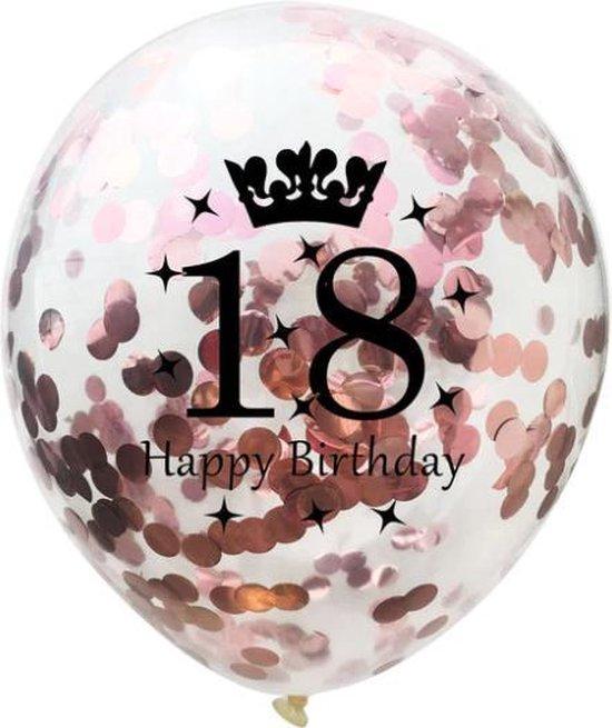 18 Jaar Ballonnen Set - Confetti - 5 stuks - Verjaardag Feest - Versiering - Metallic Rose - 30cm