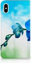 iPhone Xs Max Standcase Hoesje Design Orchidee Blauw